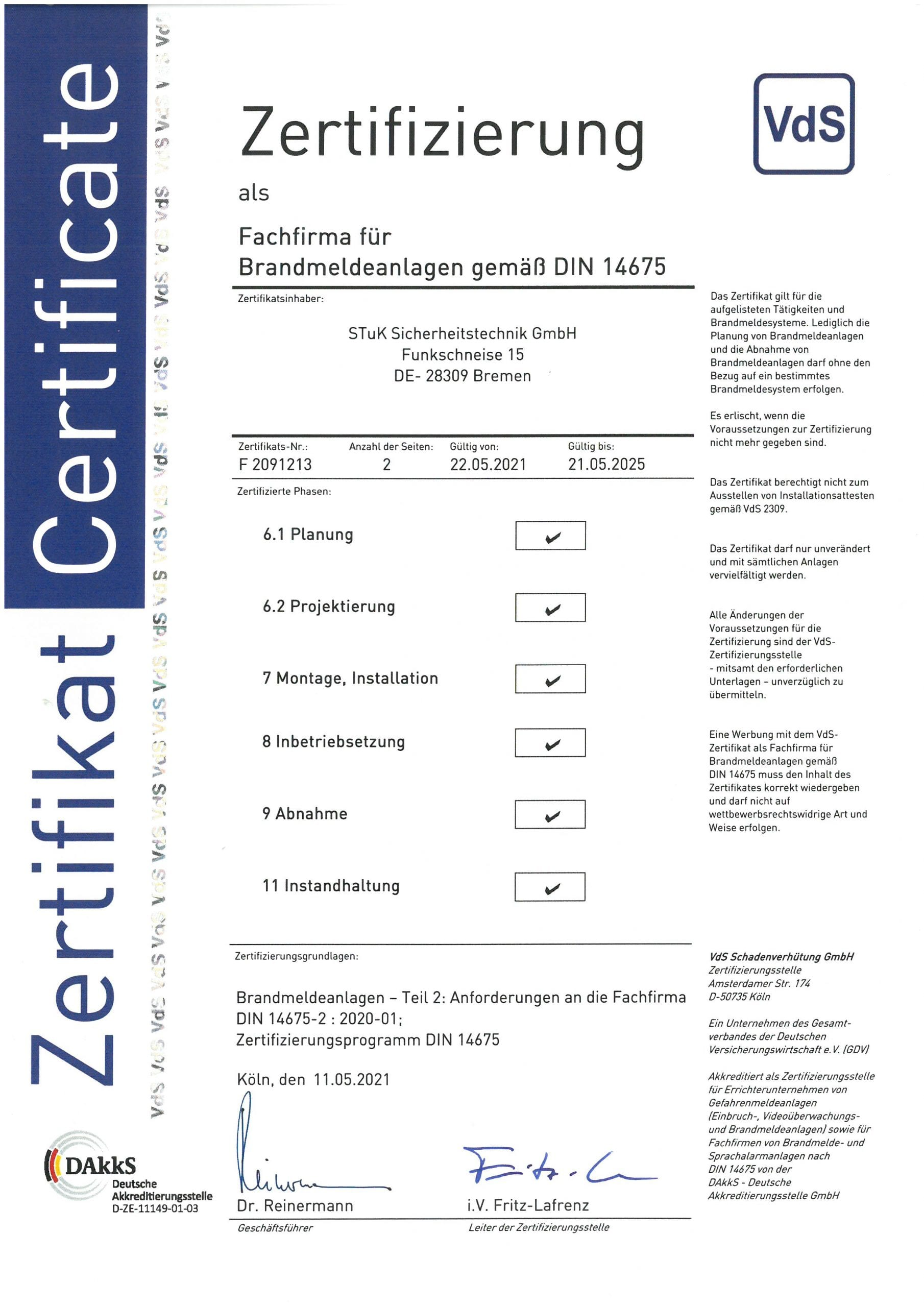 Zertifizierung DIN 14675